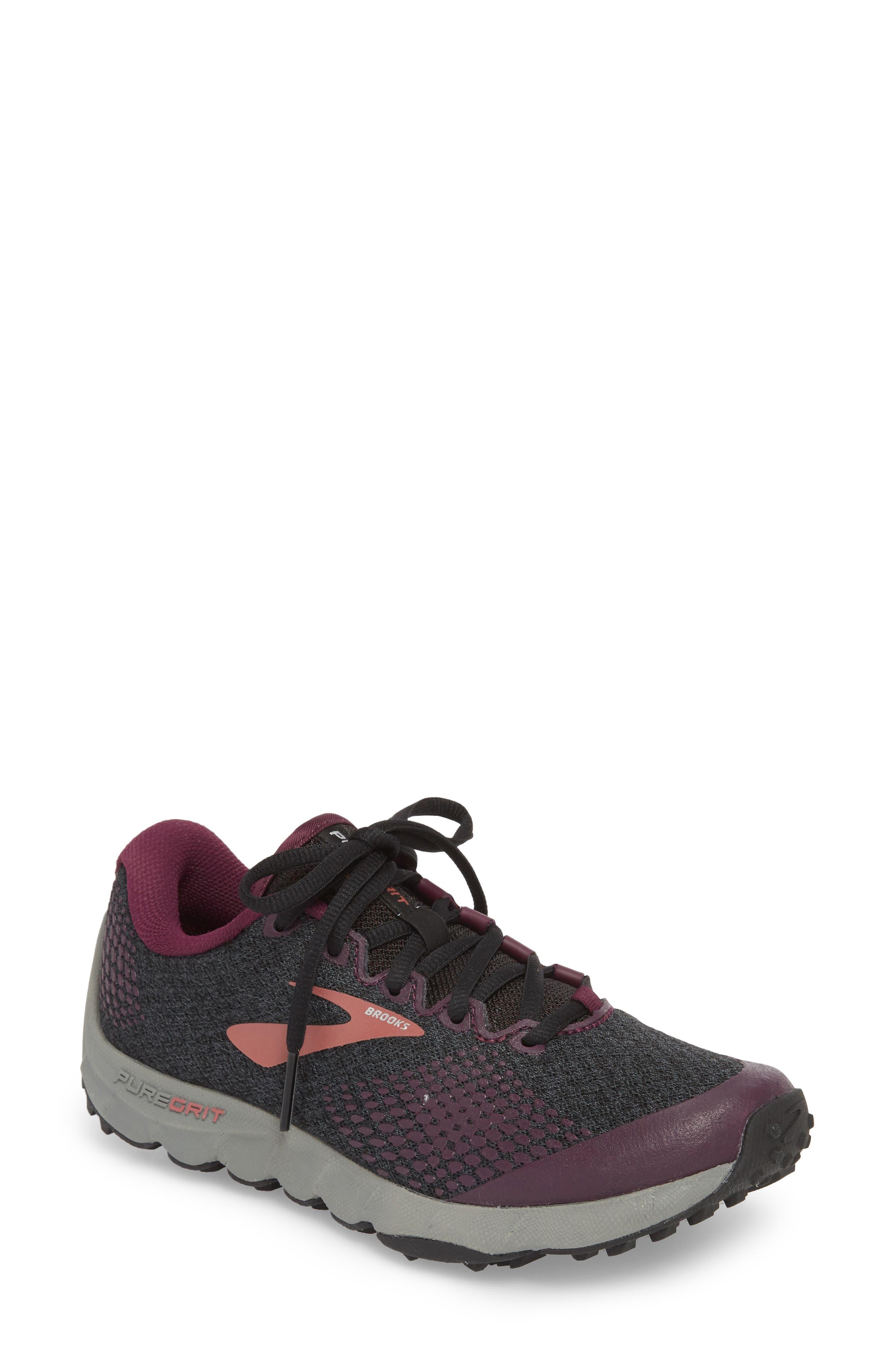 ,                             PureGrit 7 Trail Running Shoe,                             Main thumbnail 1, color,                             BLACK/ PURPLE/ GREY
