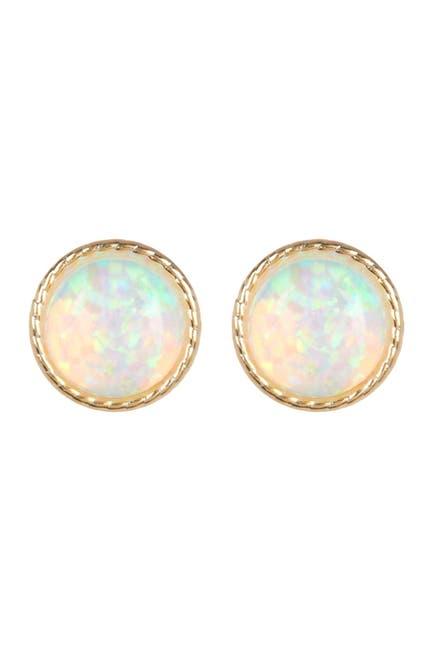 Image of Candela 10K Gold 6mm Bezel Set Opal Stud Earrings