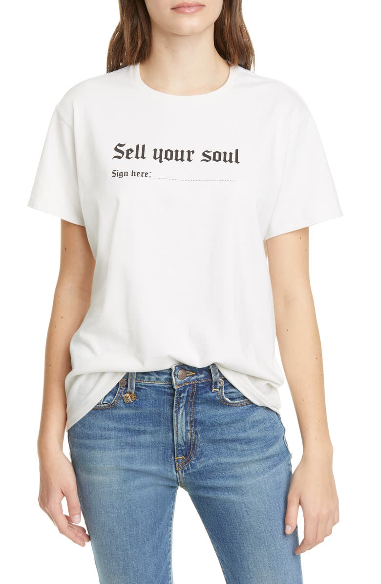 R13 Sell Your Soul Boy Tee, Main, color, DIRTY WHITE