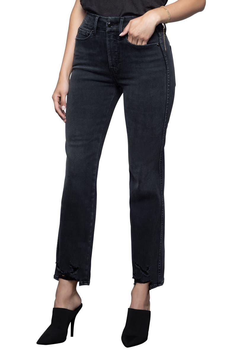 GOOD AMERICAN Good Straight Destroyed Hem Straight Leg Jeans, Main, color, BLACK077