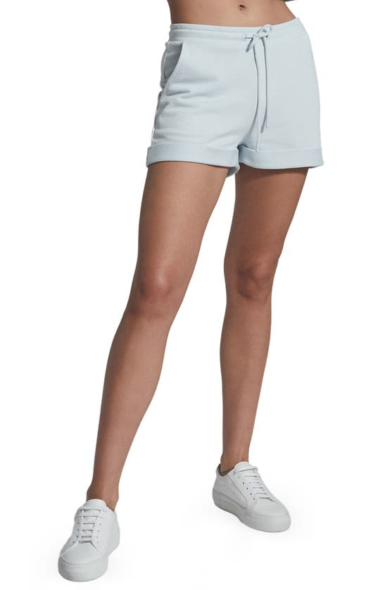 Reiss Annie Cotton Blend Fleece Drawstring Shorts In Blue