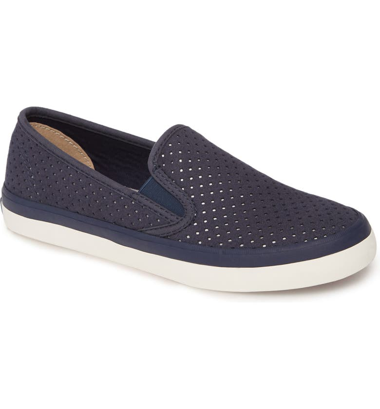 SPERRY Seaside Perforated Varsity Slip-On Sneaker, Main, color, NAVY SUEDE