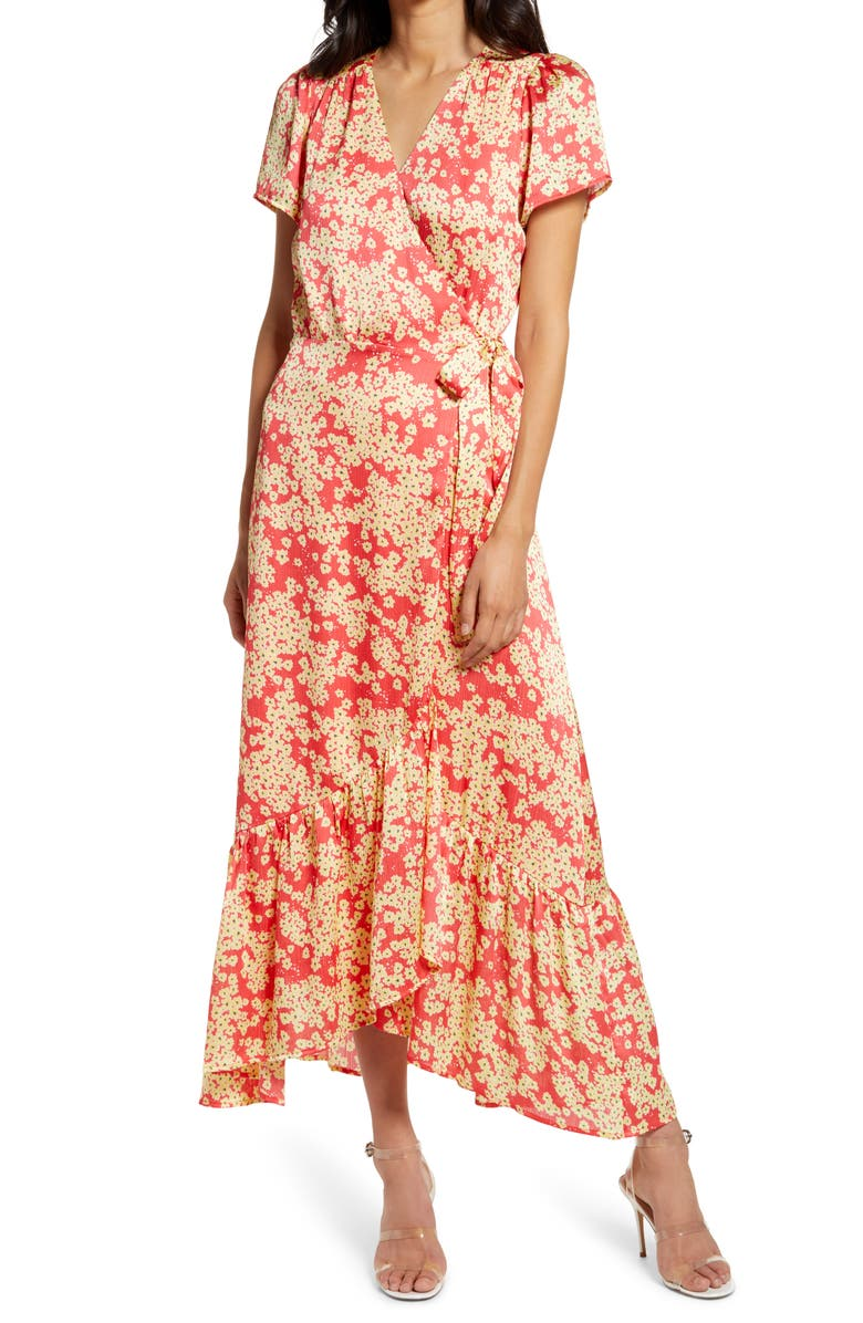 CHARLES HENRY Wrap Maxi Dress, Main, color, CORAL YELLOW BLOSSOMS