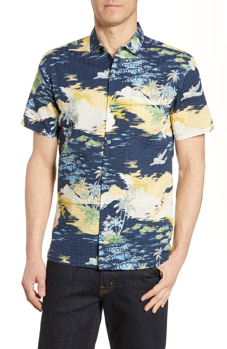 TORI RICHARD Archipelago Classic Fit Seersucker Shirt, Main, color, NAVY