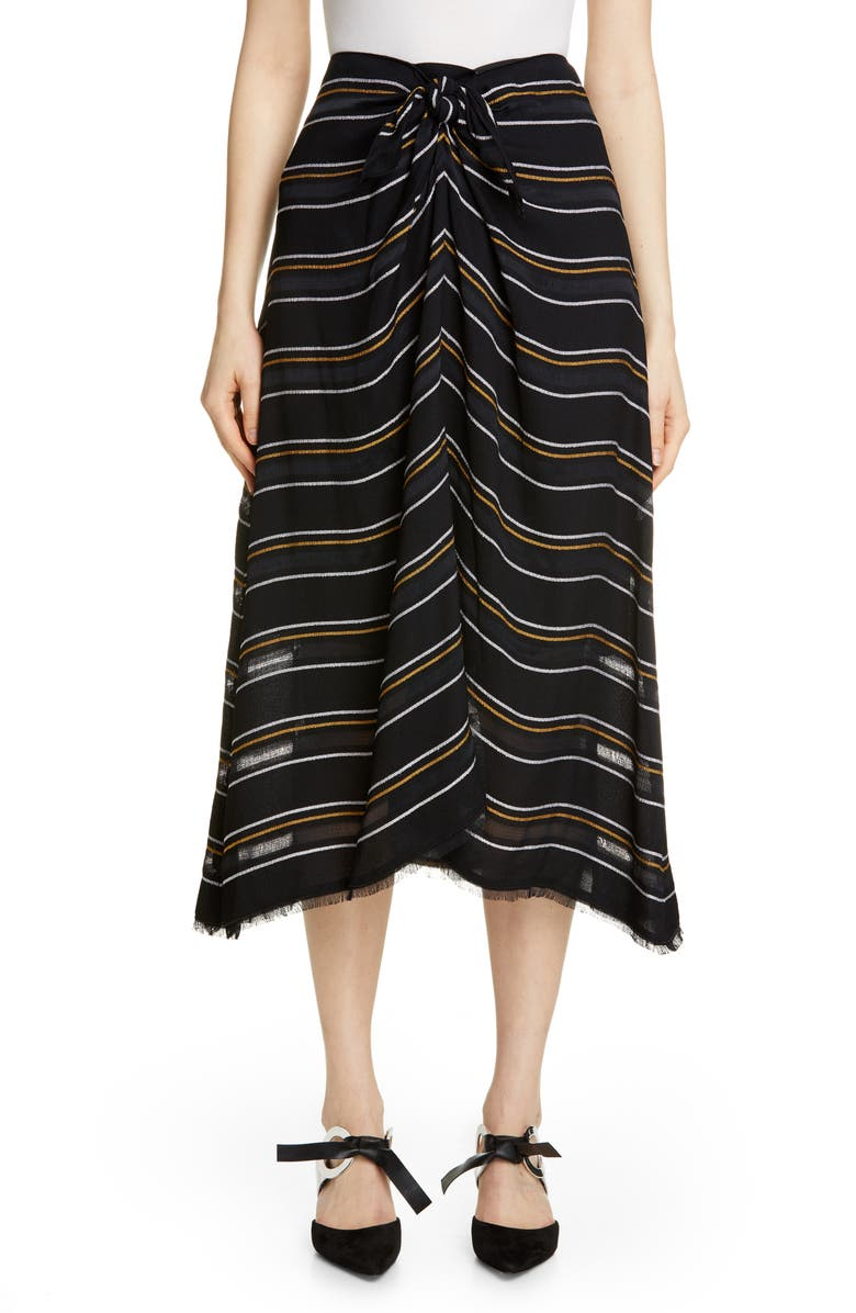 PROENZA SCHOULER Tie Front Stripe Crepe Skirt, Main, color, 001