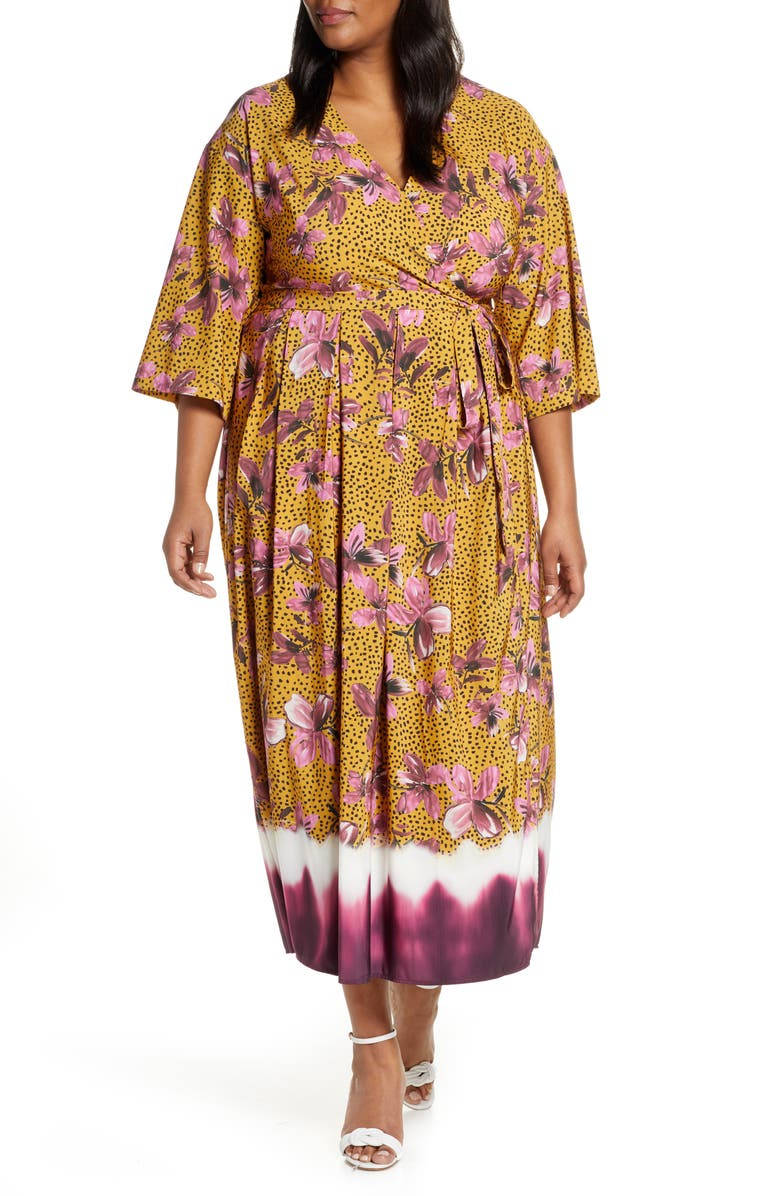 ELOQUII Floral Faux Wrap Dress, Main, color, CORDIAL-LILY NATURED