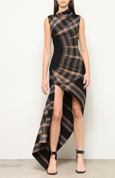 Asymmetrical Pleated Plaid Midi Dress, video thumbnail