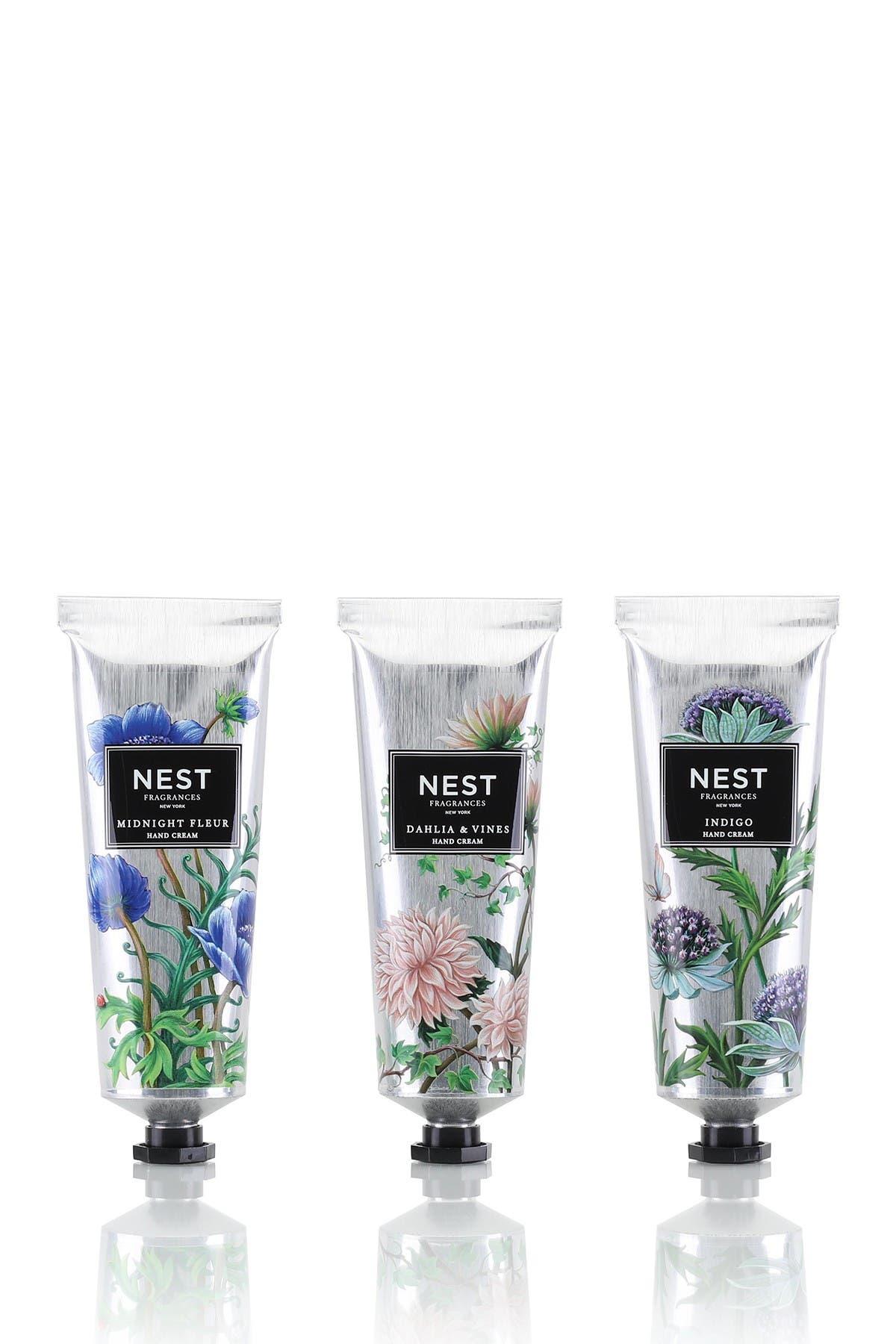 Image of NEST Fragrances Hand Cream Discovery Set - Midnight Fleur, Indigo, Dahlia & Vines