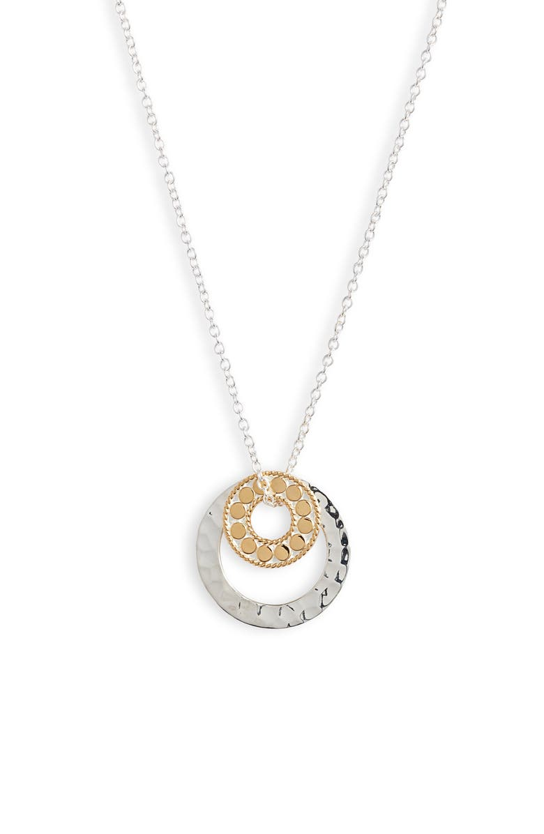 Hammered Double Circle Necklace by Anna Beck