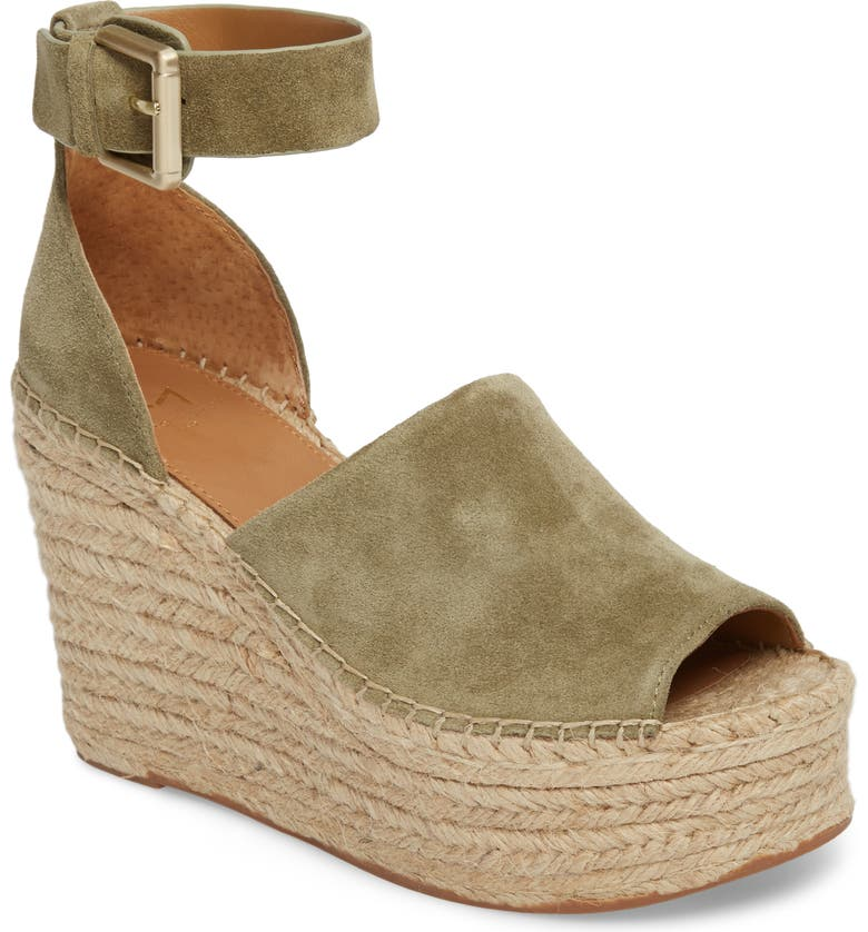 MARC FISHER LTD Adalyn Espadrille Wedge Sandal, Main, color, LIGHT GREEN SUEDE