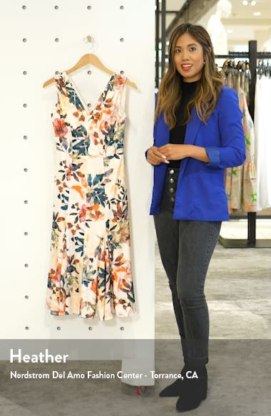 Sleeveless Floral Print Charmeuse Dress, sales video thumbnail