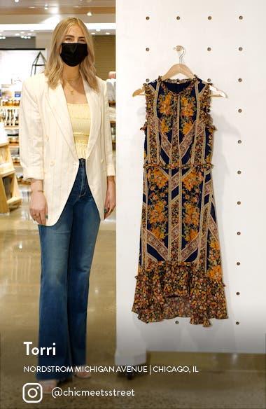 Floral Scarf Print Ruffle Detail A-Line Dress, sales video thumbnail