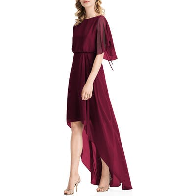 Jenny Packham Flutter Sleeve High/low Chiffon Gown, Burgundy