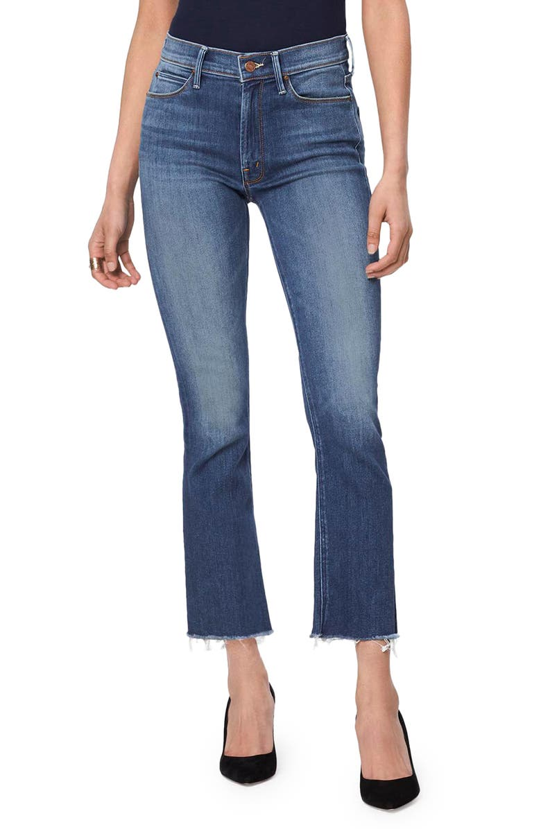 MOTHER The Hustler High Waist Ankle Fray Jeans, Main, color, BIG SKY