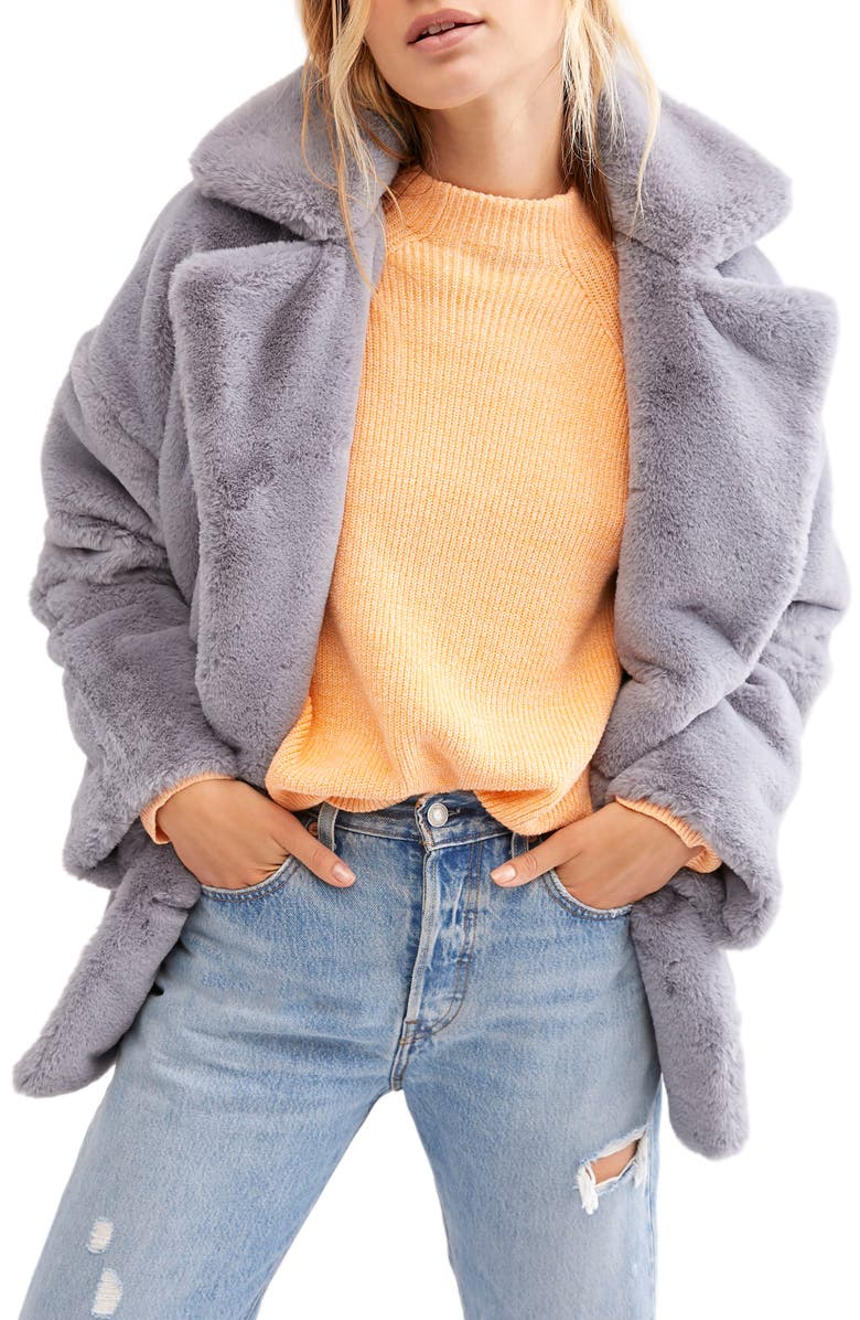 FREE PEOPLE Kate Faux Fur Coat, Main, color, CLOUDY DAY