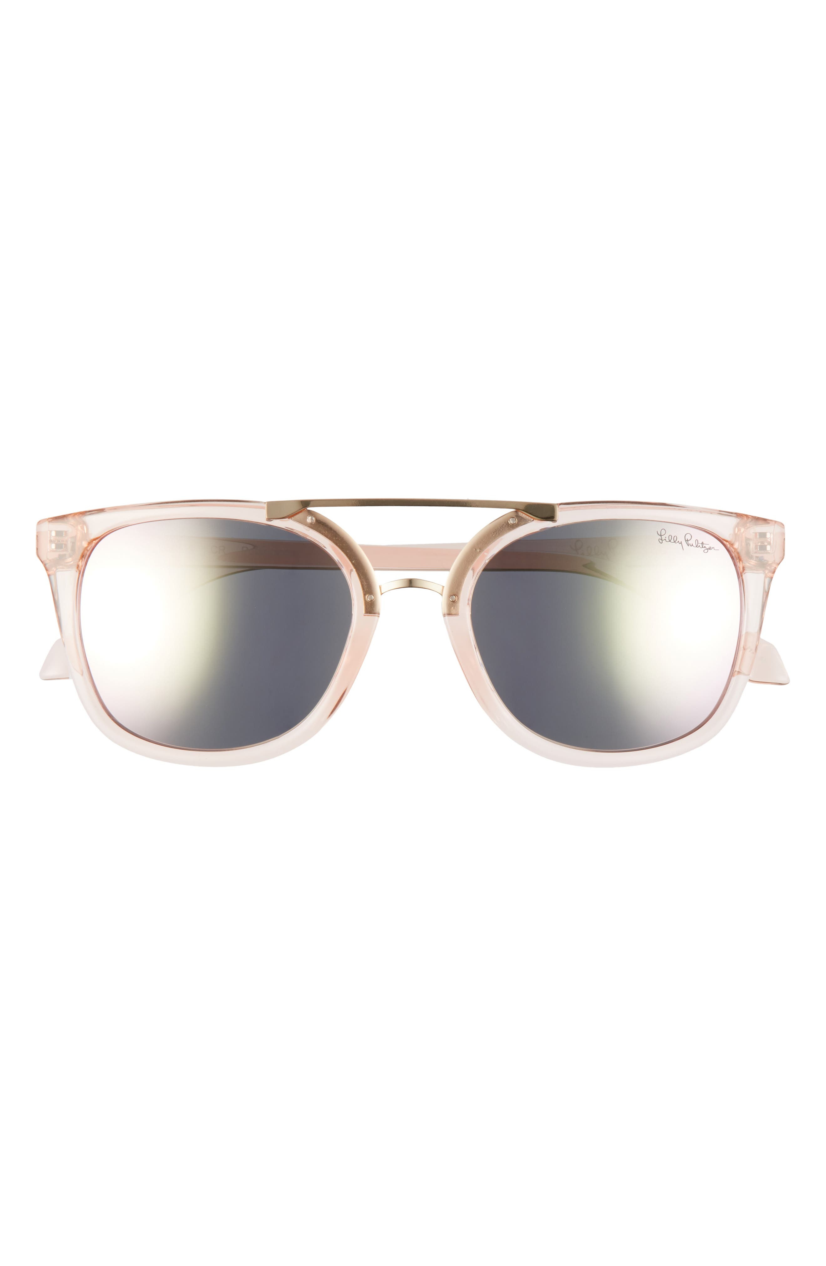 A metal aviator bridge styles sleek sunnies finished with cool polarized lenses and logo-detailed temples. Style Name: Lilly Pulitzer Emilia 53mm Polarized Sunglasses. Style Number: 5567250. Available in stores.