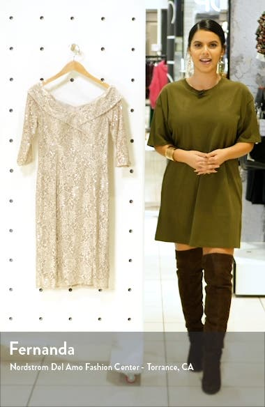 Off the Shoulder Sequin Lace Sheath Dress, sales video thumbnail