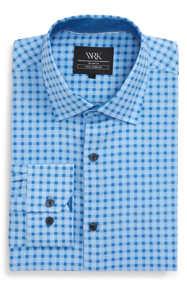 W.R.K Slim Fit Check Stretch Performance Dress Shirt, Main, color, BLUE