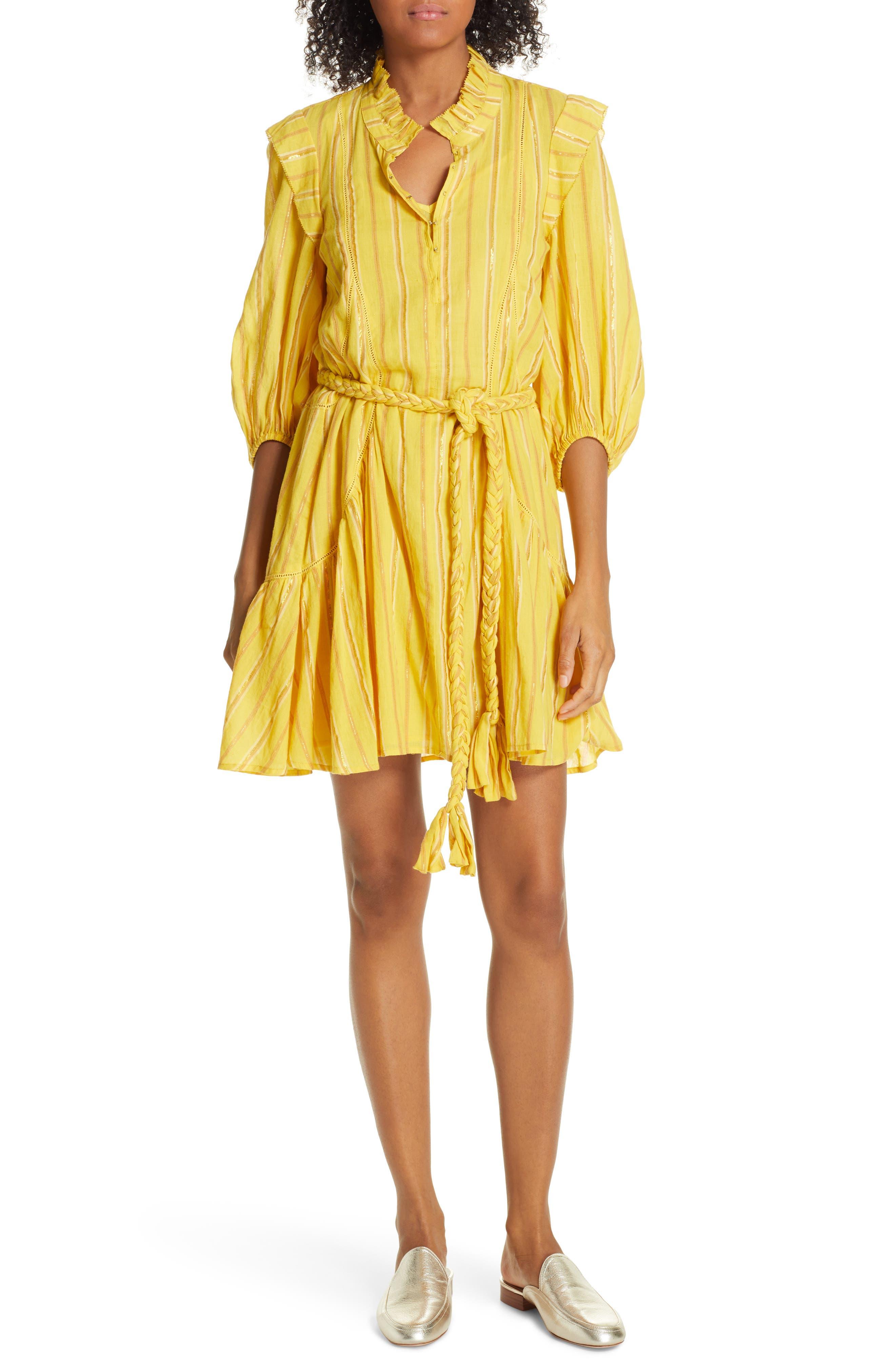 Apiece Apart Rafaela Metallic Stripe Cotton Dress, Yellow
