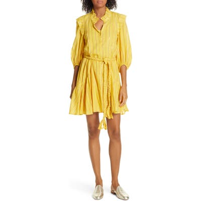 Apiece Apart Rafaela Metallic Stripe Cotton Dress, Yellow