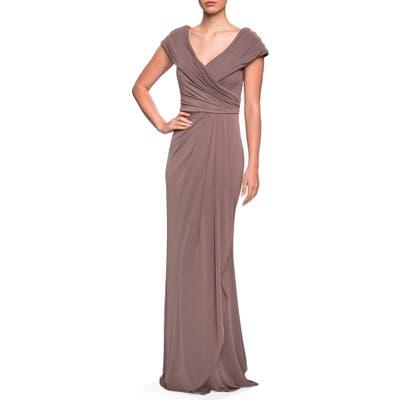 La Femme Ruched Jersey Gown, Beige