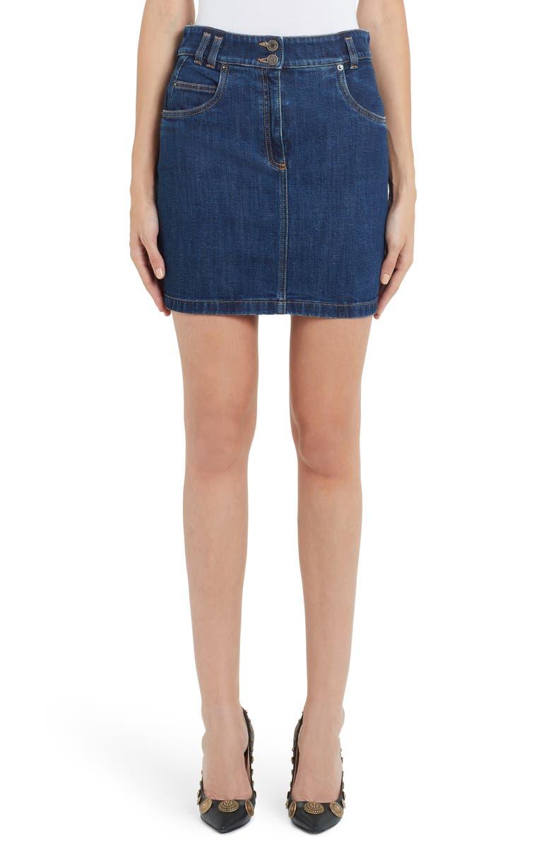 MOSCHINO Embroidered Bear Denim Miniskirt, Main, color, BLUE