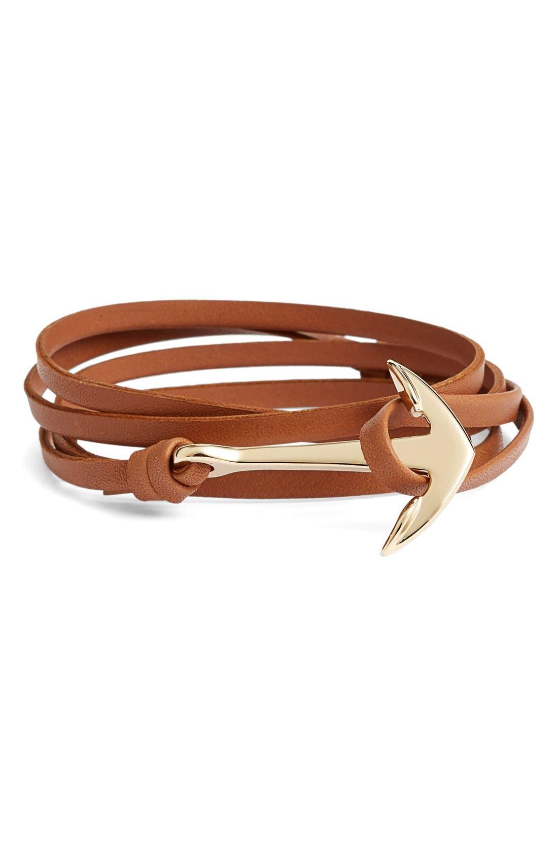 ,                             Gold Anchor Leather Bracelet,                             Main thumbnail 4, color,                             210