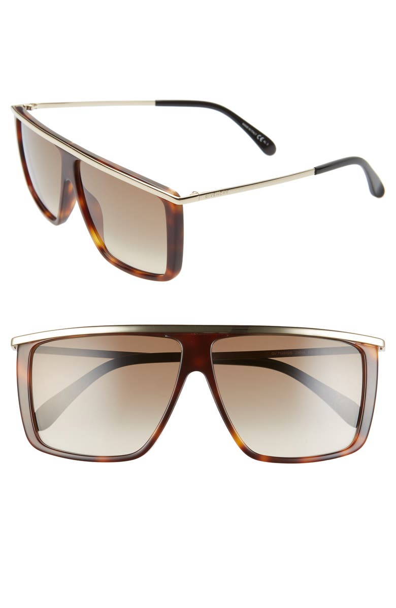 GIVENCHY 62mm Oversize Flat Top Sunglasses, Main, color, HAVANA/ BROWN GRADIENT