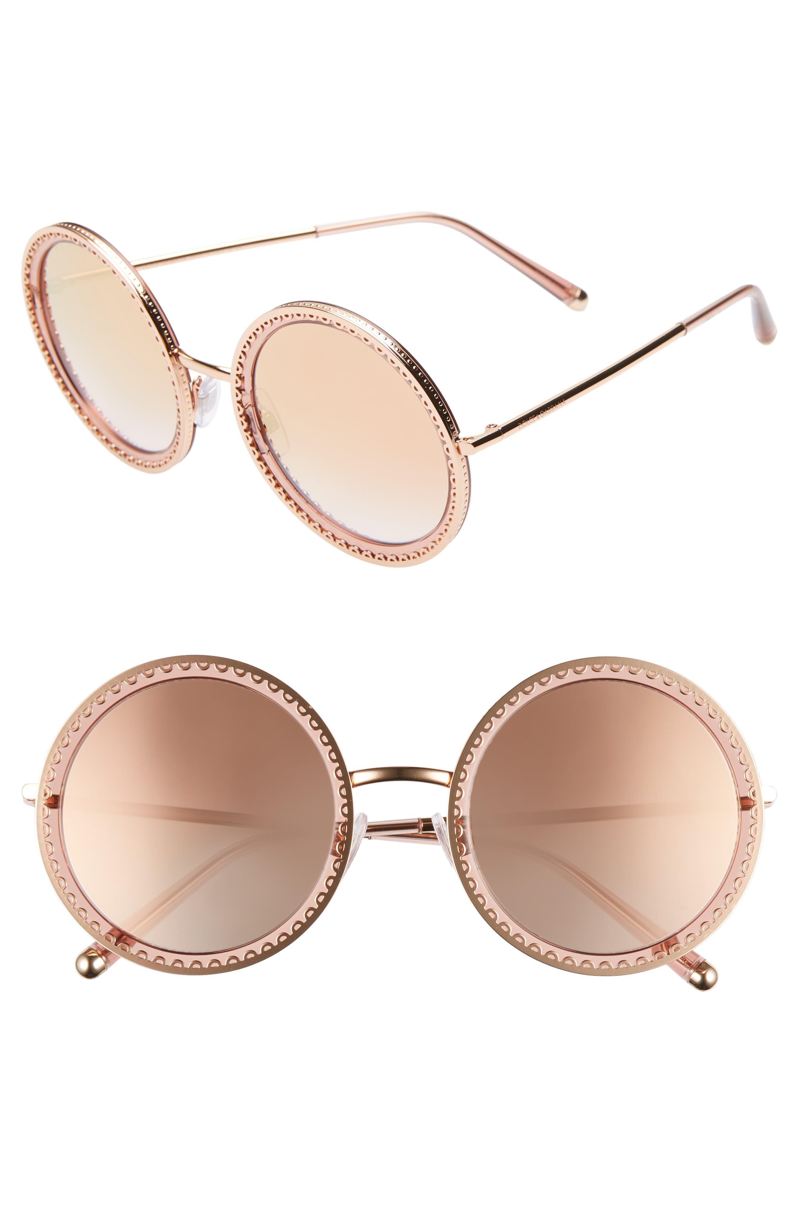 Dolce & gabbana Sacred Heart 5m Gradient Round Sunglasses - Gold Pink Gradient Mirror