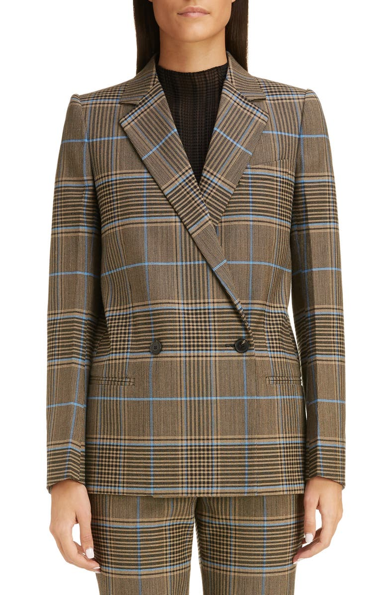 GIVENCHY Check Double Breasted Wool Jacket, Main, color, BLUE/ BEIGE