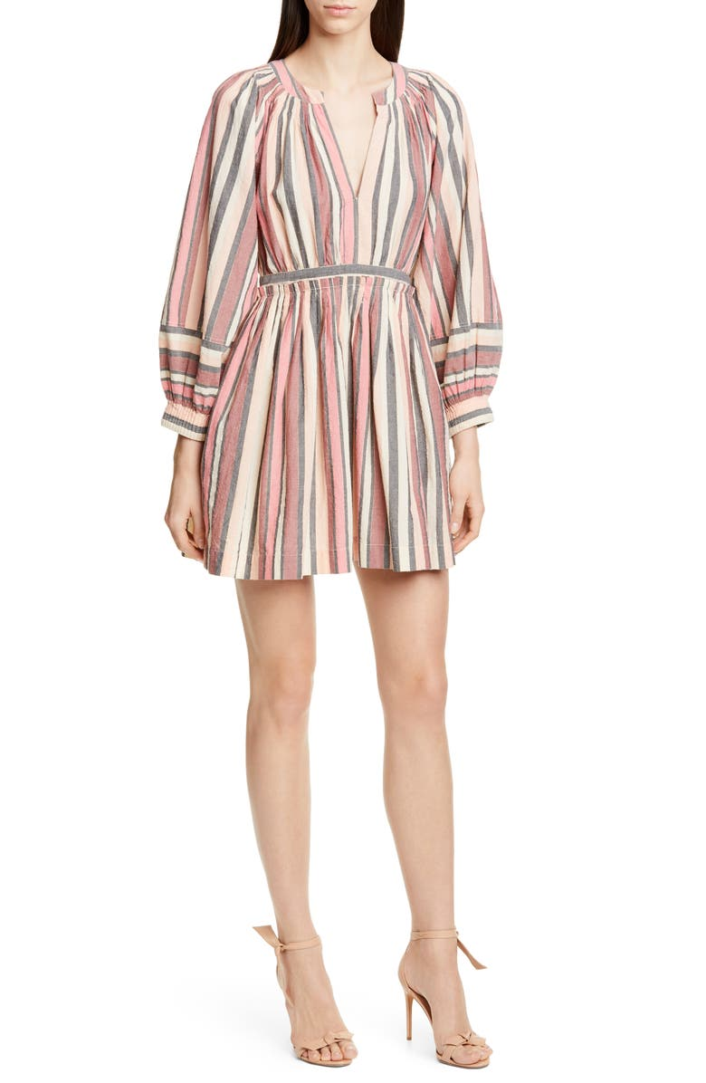 ULLA JOHNSON Julia Puff Sleeve Minidress, Main, color, ROSEWOOD