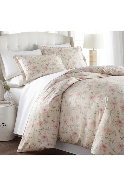 Image of SOUTHSHORE FINE LINENS King/California King Ultra-Soft 300 Thread-Count Cotton Duvet Cover Sets - Floral Soft Sand