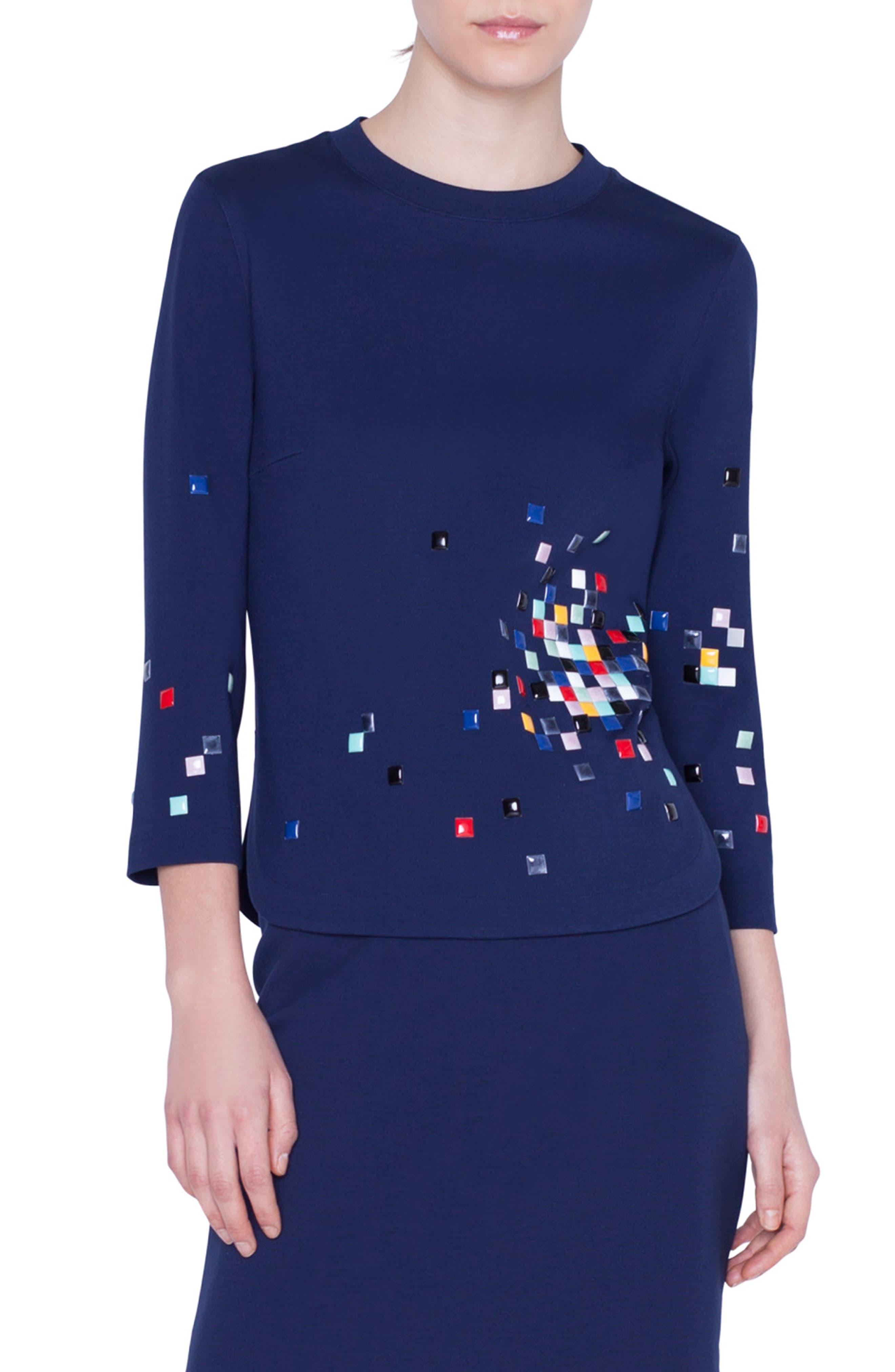 Akris Punto Tops Pixel Stud Embellished Top