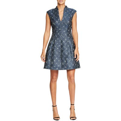 Halston Heritage Cap Sleeve Metallic Jacquard Dress, Blue