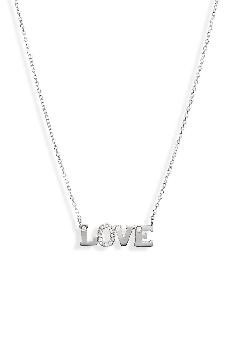 ANZIE Love Letter Love Sapphire Necklace, Main, color, SILVER/ SAPPHIRE