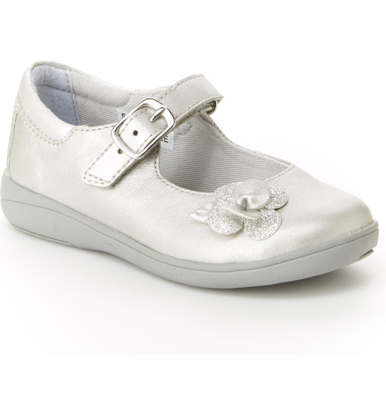 STRIDE RITE Ava SRtech<sup>™</sup> Flower Mary Jane, Main, color, SILVER