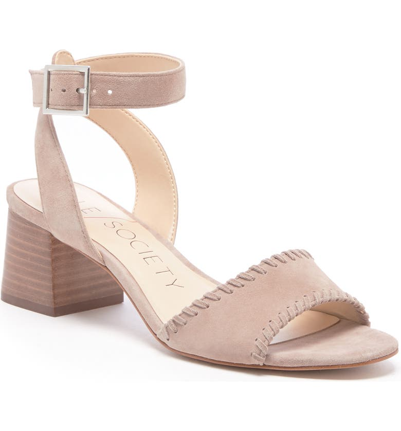 SOLE SOCIETY Sylie Ankle Strap Sandal, Main, color, SHELL SUEDE