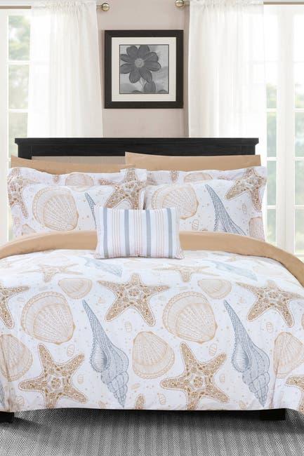 Image of Chic Home Bedding Queen Libra Reversible Maritime Theme Print Design Comforter 8-Piece Set - Multi Color