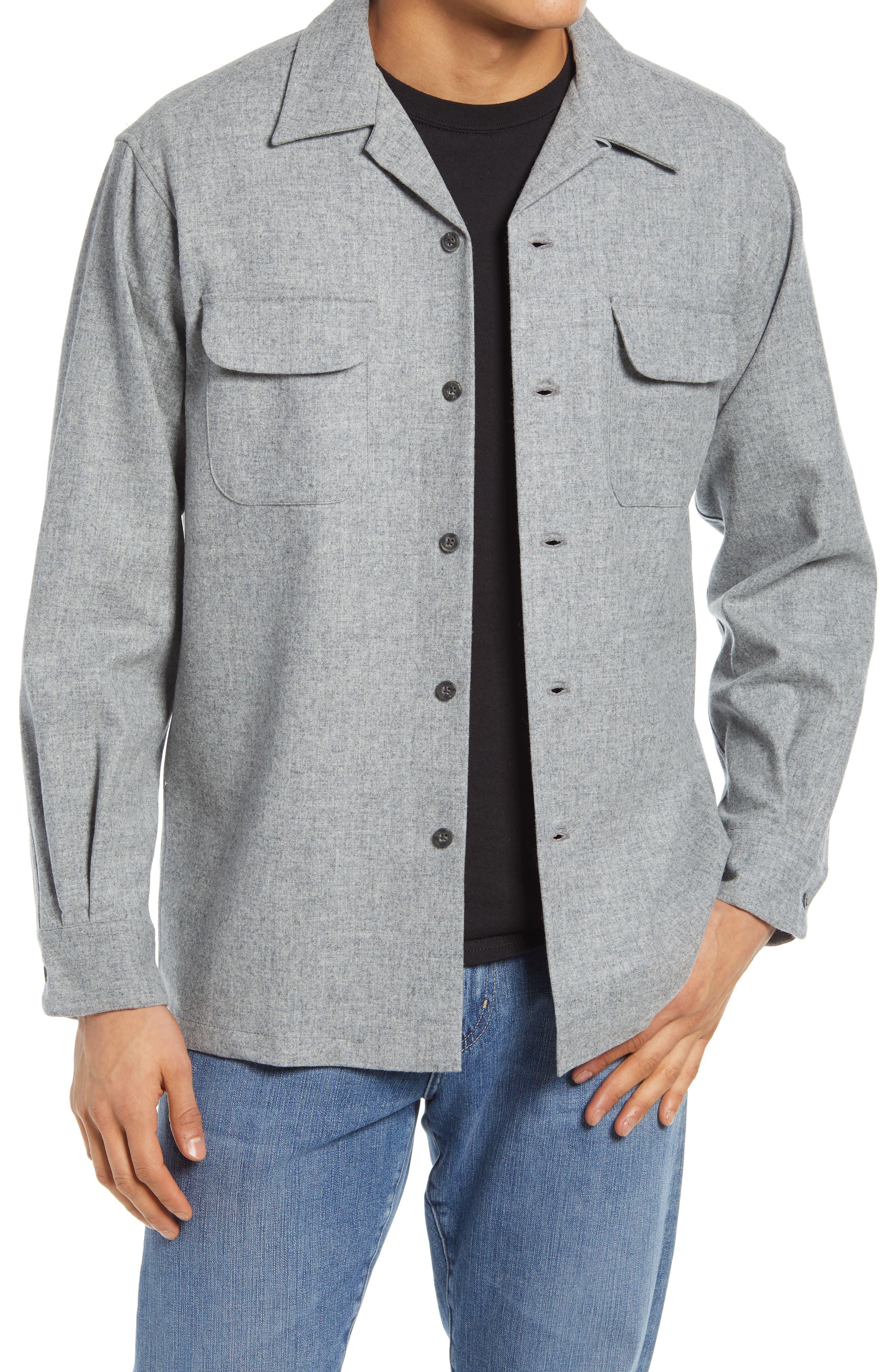 1930s Mens Shirts | Dress Shirts, Polo Shirts, Work Shirts Mens Pendleton Board Lined Wool Shirt Size Small - Grey $149.00 AT vintagedancer.com