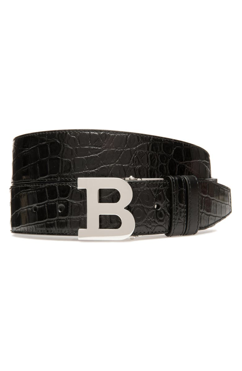BALLY B Buckle Embossed Leather Belt, Main, color, BLACK