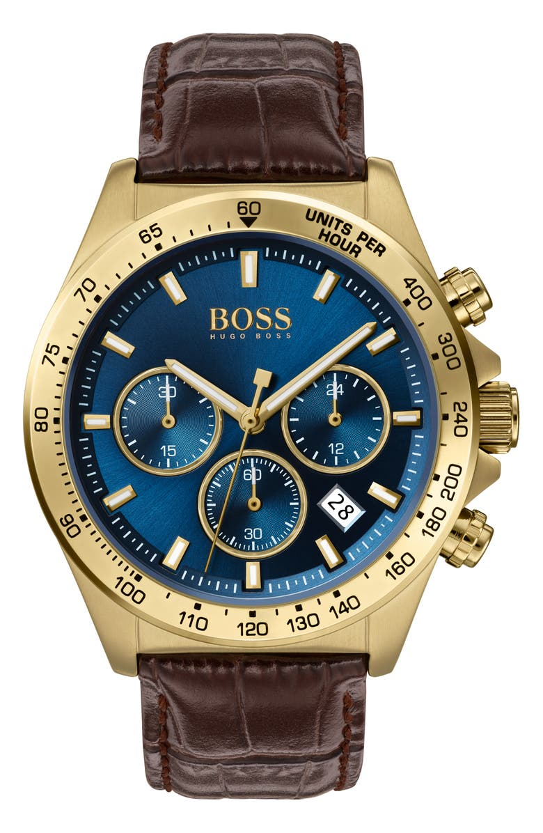 BOSS Hero Chronograph Leather Strap Watch, 43mm, Main, color, BROWN/ BLUE/ GOLD