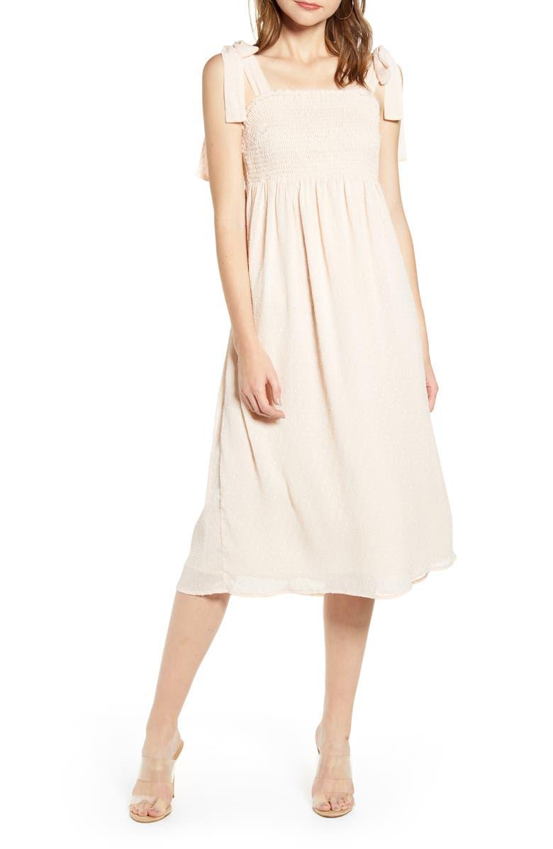 ENGLISH FACTORY Smocked Swiss Dot Midi Dress, Main, color, PINK