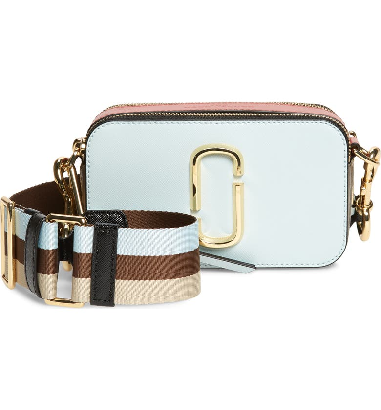 THE MARC JACOBS The Snapshot Leather Crossbody Bag, Main, color, LAKE BLUE MULTI