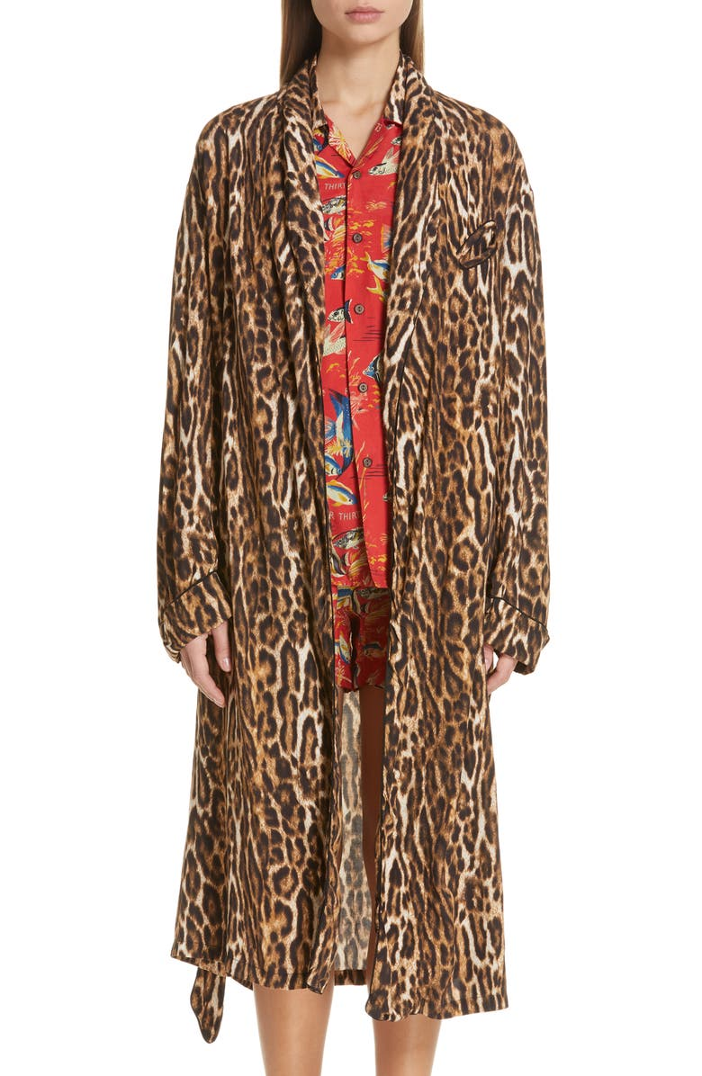 top design expédition gratuite nouvelle version R13 Leopard Print Smoking Robe with Piping | Nordstrom
