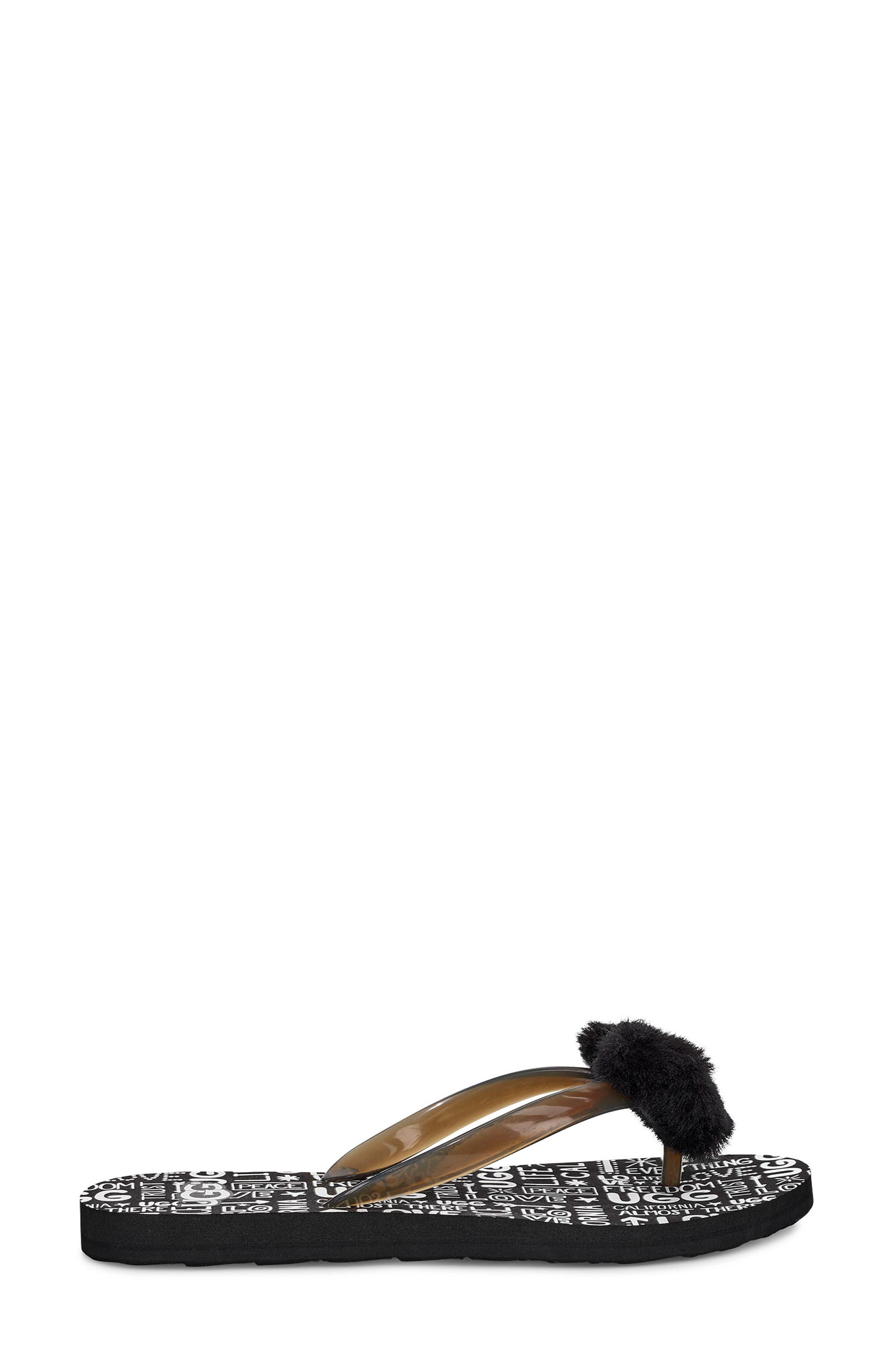 ,                             Simi Fluff Manifesto Flip Flop with Genuine Shearling Trim,                             Alternate thumbnail 3, color,                             BLACK RUBBER