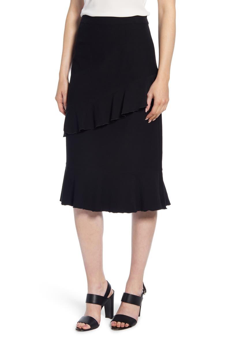 MING WANG Ruffle Skirt, Main, color, BLACK