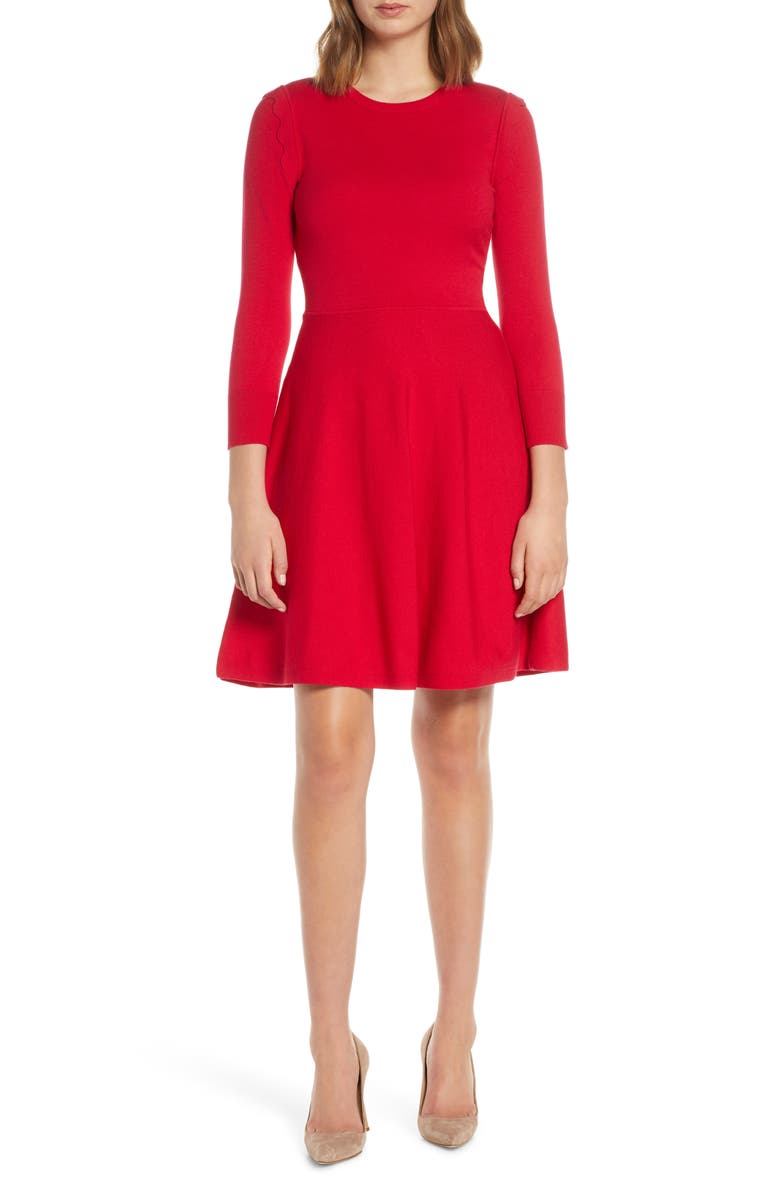 ELIZA J Fit & Flare Sweater Dress, Main, color, 660