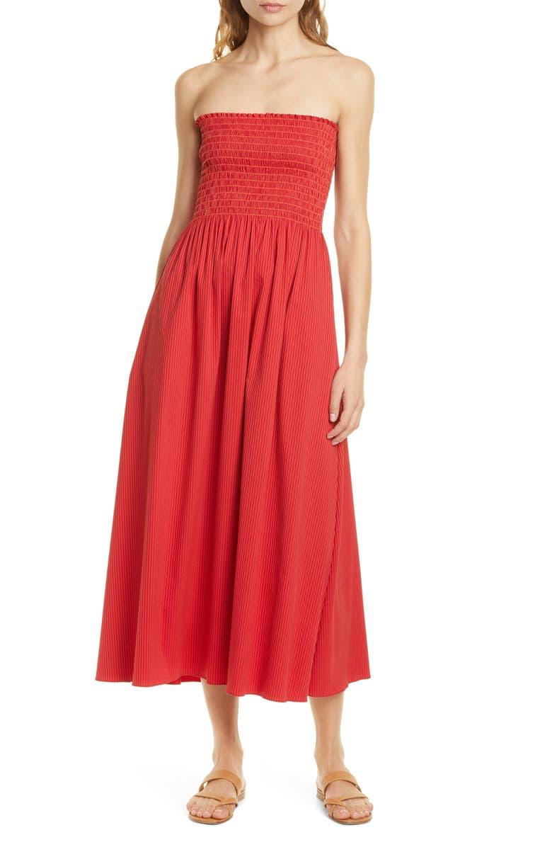 LA LIGNE Meredith Smocked Bodice Strapless Midi Dress, Main, color, TONAL RED STRIPES
