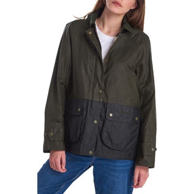 Barbour Robyn Water Resistant Waxed Jacket, US / 10 UK - Green