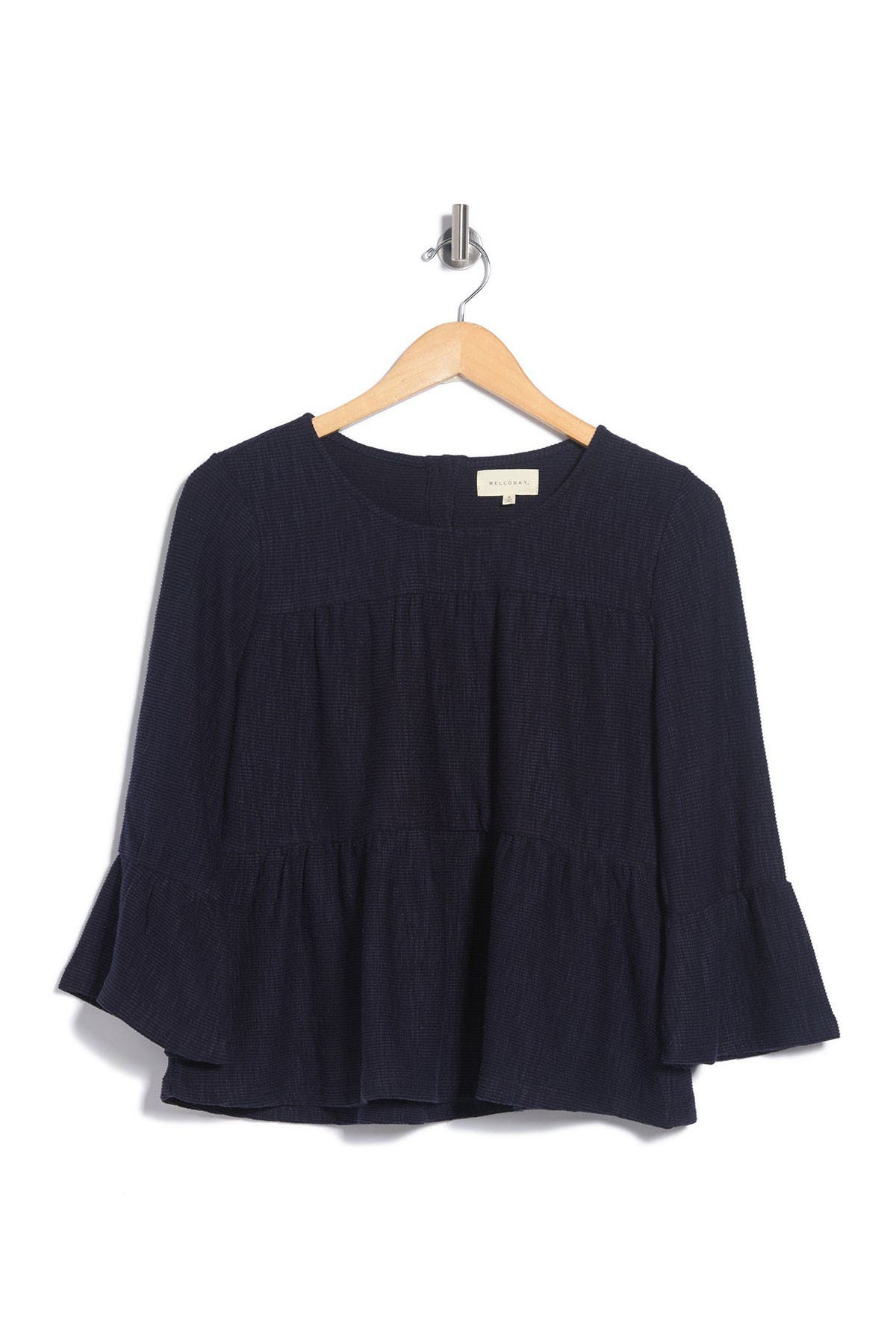 Image of MELLODAY Tiered Textured Back Button Back Knot T-Shirt